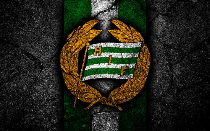 Download Wallpapers 4k, Hammarby FC, Emblem, Allsvenskan