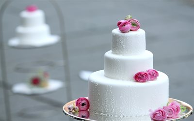 wedding cake, white cream, white multi-level cake with roses, dessert, cakes