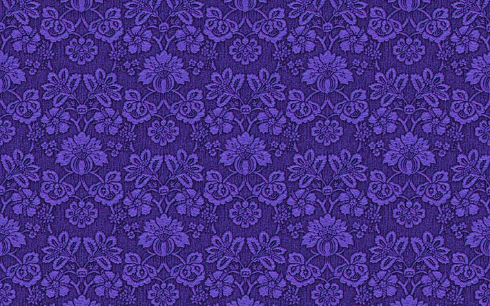 Descargar fondos de pantalla 4k, violeta tejido, estampado floral ...