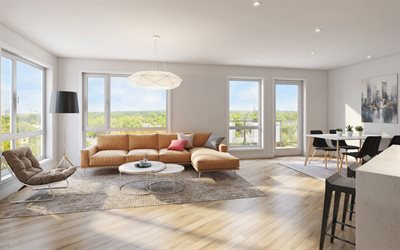 stylish interior design, living room, apartments, minimalism, light wooden floor, modern design for the living room