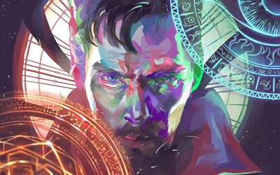 Doctor Strange, 4k, abstract art, superheroes, Benedict Cumberbatch, fan art
