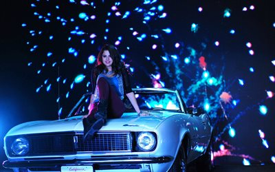 Selena Gomez, 4k, fireworks, 2019, music stars, american celebrity, Puma photoshoot, superstars, Selena Gomez at car, beauty, american singer, brunette, Selena Gomez photoshoot