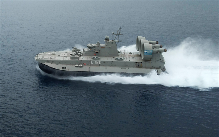 Kefalonia L-180, Hellenic Navy, Greek Navy, Zubr-class, LCAC, air-cushioned landing craft, greek warship, Greece