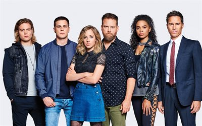Travelers, American TV series, promo, all characters, all actors, Eric McCormack, MacKenzie Porter, Nesta Cooper, Jared Abrahamson, Reilly Dolman, Patrick Gilmore