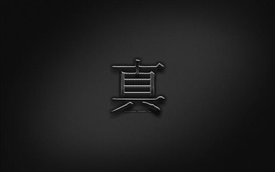 Truth Japanese character, metal hieroglyphs, Kanji, Japanese Symbol for Truth, black signs, Truth Kanji Symbol, Japanese hieroglyphs, metal background, Truth Japanese hieroglyph