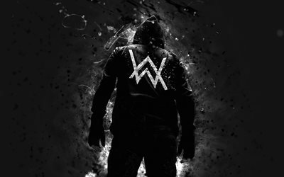 4k, Alan Walker, vit neon lights, DJ Alan Walker, kreativa, superstars, Dj: s, musik stjärnor, fan art, Alan Olav Walker, baksida, Alan Walker 4K
