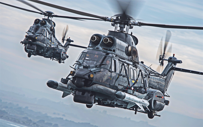 Eurocopter EC725, 4k, military helicopters, Chilean Army, Armada De Chile, Eurocopter, Army of Chile, Airbus Helicopters H225M