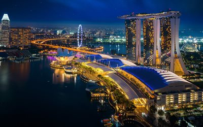 Singapore, night, skyscrapers, Marina Bay Sands, modern architecture, Singapore cityscape, Asia