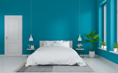blue bedroom, modern interior design, turquoise bedroom, stylish interior, blue walls in the bedroom