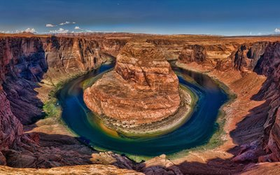 Horseshoe Bend, 4k, Glen Canyon, summer, desert, Colorado River, american landmarks, Arizona, USA, beautiful nature, America, HDR