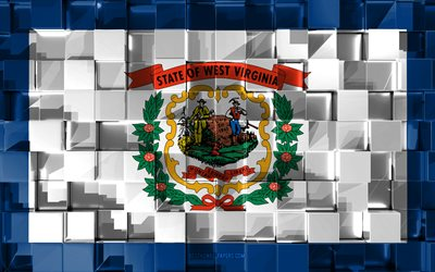 Flagga av West Virginia, 3d-flagga, AMERIKANSKA staten, 3d kuber konsistens, Flags of American states, 3d-konst, West Virginia, USA, 3d-textur, West Virginia flagga