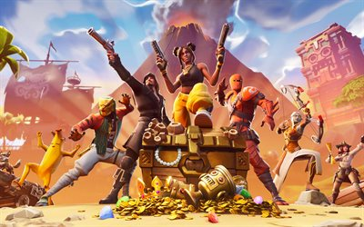 Fortnite, 2019, poster, main characters, creative art, new games, online games
