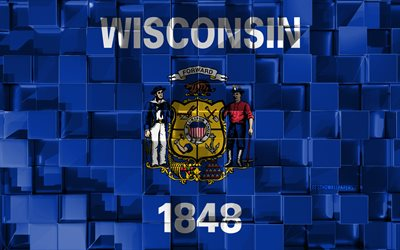 Flag of Wisconsin, 3d flag, US state, 3d cubes texture, Flags of American states, 3d art, Wisconsin, USA, 3d texture, Wisconsin flag