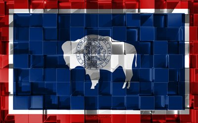 Flag of Wyoming, 3d flag, US state, 3d cubes texture, Flags of American states, 3d art, Wyoming, USA, 3d texture, Wyoming flag