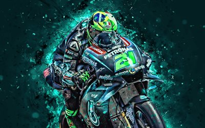 Franco Morbidelli, 4k, 2019, fan art, MotoGP, 2019 bikes, Petronas Yamaha SRT, neon lights, Franco Morbidelli on track, racing bikes, Yamaha YZR-M1, Yamaha