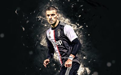 Merih Demiral, 2019, Juventus FC, new uniform, Turkish footballers, soccer, Serie A, Italy, Demiral, neon lights, football, Juve, Bianconeri