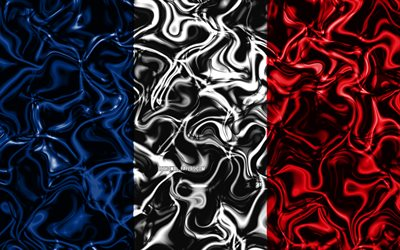 4k, Flag of France, abstract smoke, Europe, national symbols, French flag, 3D art, France 3D flag, creative, European countries, France