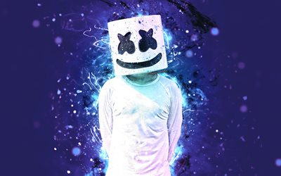 Marshmello, 4k, blue violet neon, american DJ, music stars, Christopher Comstock, Marshmello 4K, artwork, superstars, fan art, DJ Marshmello, DJs