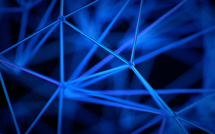 network concept, 4k, 3D art, geometry, points and lines, blue lines, digital art, blue backgrounds, social network, network