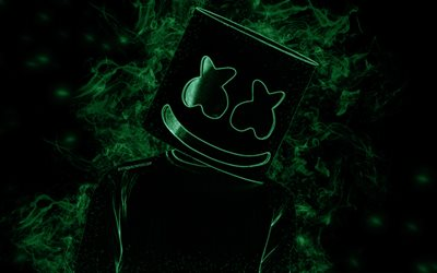 Marshmello, American DJ, creative art, green smoke silhouette, black background, world star, DJ Marshmello