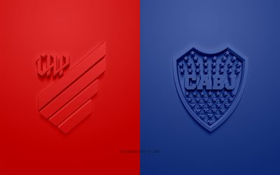 Athletico Paranaense vs Boca Juniors, 2019 Copa Libertadores, promotional materials, football match, logos, 3d art, CONMEBOL, Athletico Paranaense, Boca Juniors
