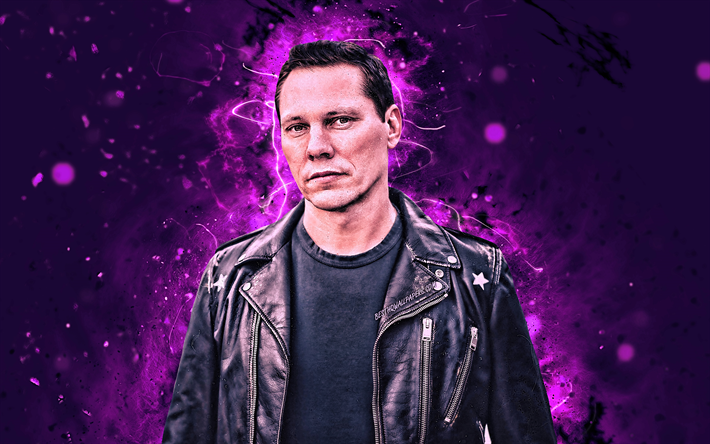 4k, Tiesto, violet neon lights, superstars, Dutch DJs, Tijs Michiel Verwest, DJ Tiesto, music stars, Tiesto 4K