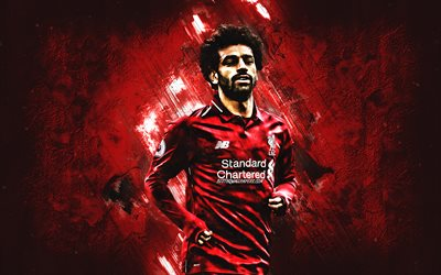 Mohamed Salah, portrait, Liverpool FC, Egyptian soccer player, striker, red creative background, Premier League, England, football