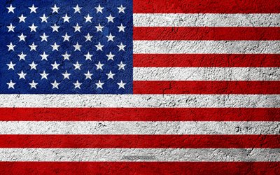 Flag of USA, concrete texture, stone background, USA flag, North America, USA, flags on stone, American flag