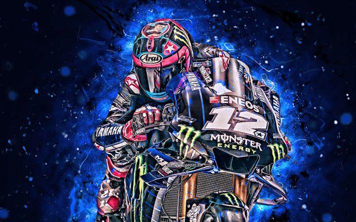 Maverick Vinales, 4k, MotoGP, 2019 bikes, raceway, Yamaha YZR-M1, Maverick Vinales on track, neon lights, racing bikes, Monster Energy Yamaha MotoGP, Yamaha, Maverick Vinales Ruiz