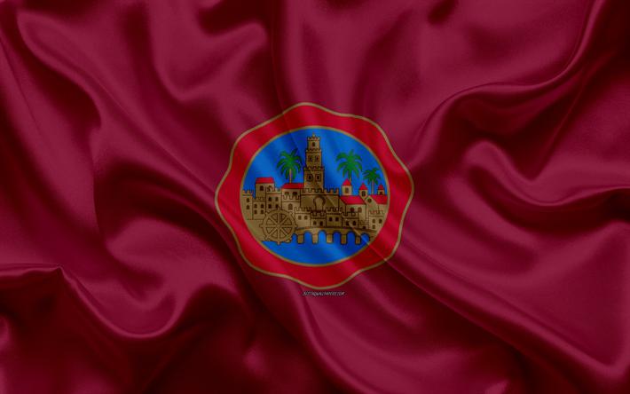 Descargar Fondos De Pantalla Bandera De La Provincia De Córdoba 4k De Seda De La Textura De La Ciudad Española De Seda Púrpura De La Bandera Córdoba Bandera De España El Arte