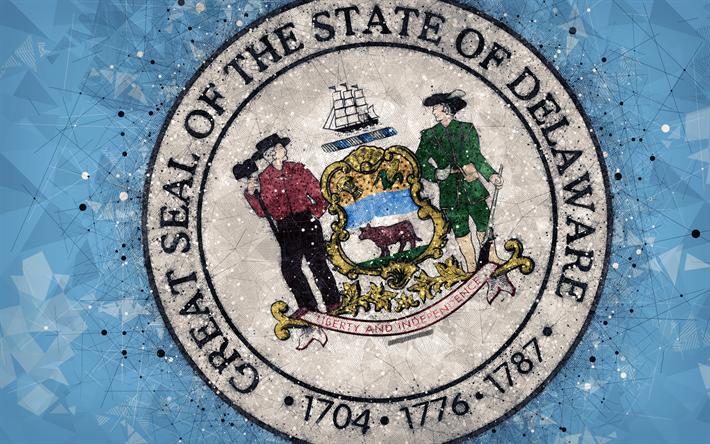 Download Wallpapers Seal Of Delaware 4k Emblem Geometric Art
