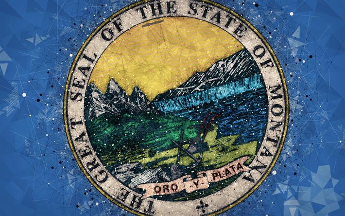 Download Wallpapers Seal Of Montana 4k Emblem Geometric Art
