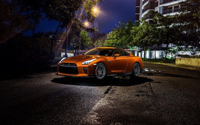 Excellar Enterprise, tuning, Nissan GT-R, 2018 cars, night, orange GT-R, supercars, R35, Nissan