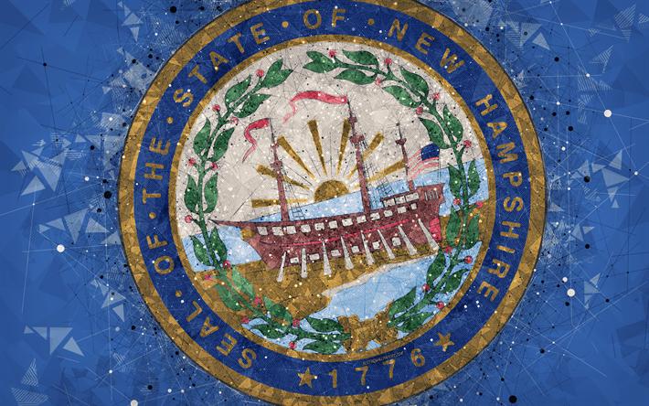 Download Wallpapers Seal Of New Hampshire 4k Emblem Geometric Art