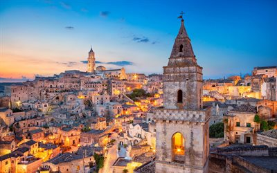 Matera, Basilicata, Matera Cathedral, evening, sunset, cityscape, Roman Catholic cathedral, Italy