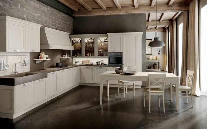 loft style kitchen, modern interior design, stylish interior, wooden ceiling, gray brick wall in the kitchen, loft style