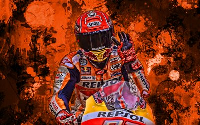 Marc Marquez, orange paint splashes, MotoGP, 2019 bikes, Honda RC213V, grunge art, Marc Marquez Alenta, racing bikes, Repsol Honda Team, Honda