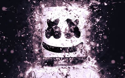 4k, Marshmello DJ, purple neon lights, american DJ, creative, Christopher Comstock, Marshmello 4K, artwork, superstars, fan art, DJ Marshmello, DJs