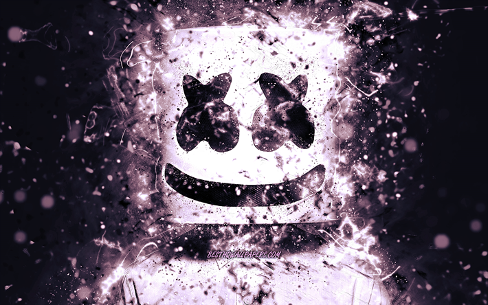 4k, Marshmello DJ, violet néon, american DJ, créatif, Christopher Comstock, Marshmello 4K, des illustrations, des superstars, fan art, DJ Marshmello, DJs