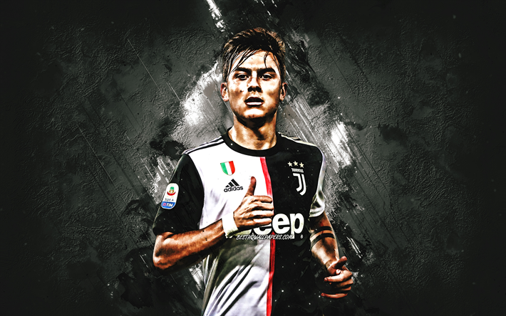 Paulo Dybala, Juventus FC, Argentinian football player, striker, portrait, gray creative background, Serie A, Italy, Juventus 2020 football players, football