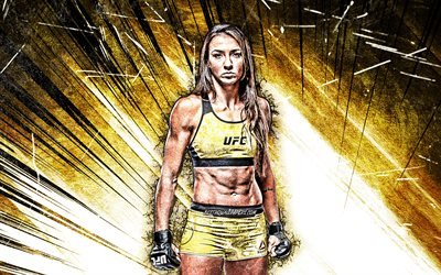4k, Amanda Ribas, grunge art, brazilian fighters, MMA, UFC, female fighters, Mixed martial arts, yellow abstract rays, MMA fighters, Amanda Ribas 4K, UFC fighters