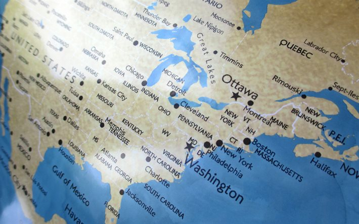 USA map, globe, map of Canada, american map, USA cities map, US states map