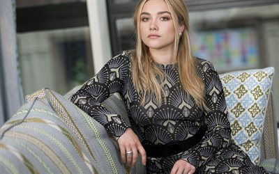 Florence Pugh, british actress, portrait, gray dress, beautiful woman, photoshoot
