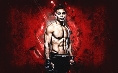 Punahele Soriano, MMA, UFC, american fighter, red stone background, creative art