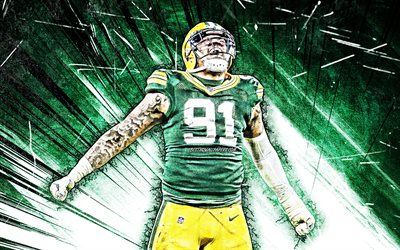 4k, Preston Smith, grunge art, Green Bay Packers, american football, NFL, linebacker, Preston Demarquis Smith, National Football League, green abstract rays, Preston Smith 4K, Preston Smith Green Bay Packers