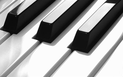 piano keys, music concepts, black and white piano, piano keys background
