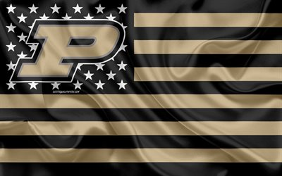 Purdue Boilermakers, American football team, creative American flag, gold black flag, NCAA, West Lafayette, Indiana, USA, Purdue Boilermakers logo, emblem, silk flag, American football
