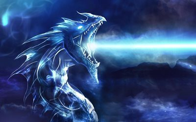 dragon, blue lights, art