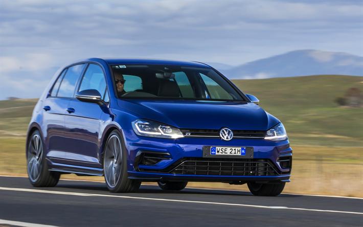 Download Wallpapers Volkswagen Golf R 2018 Cars Blue Golf Road