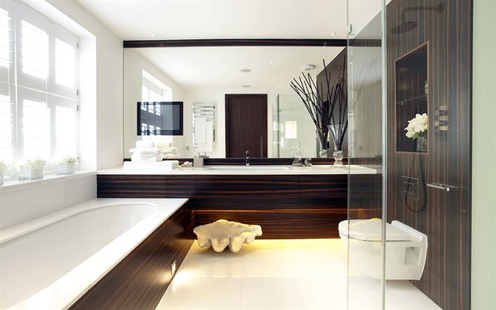 Download wallpapers bathroom 4k brown design modern for Interior design 4k images